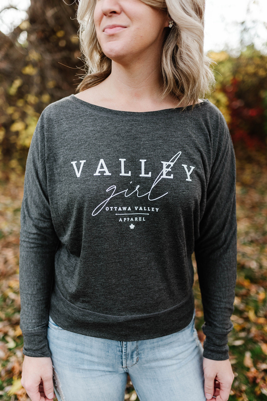 Valley Girl Slouchy Long Sleeve - Charcoal Grey