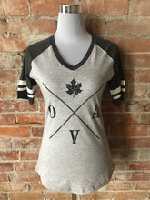 OVA Arrow Women's Vneck Baseball Tee - Charcoal & Light Grey