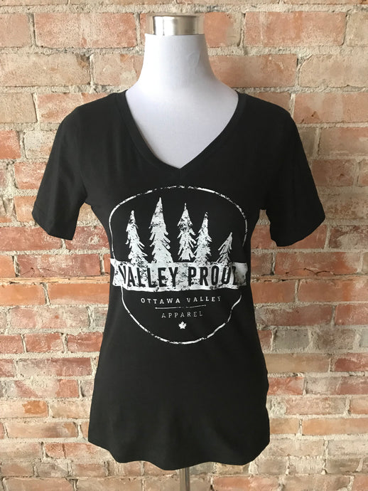 Classic Valley Proud Women's Vneck Tee - Black