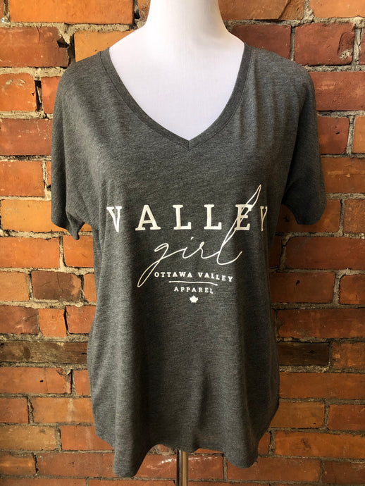 Valley Girl Women's Slouchy V-Neck Tee - Charcoal Grey