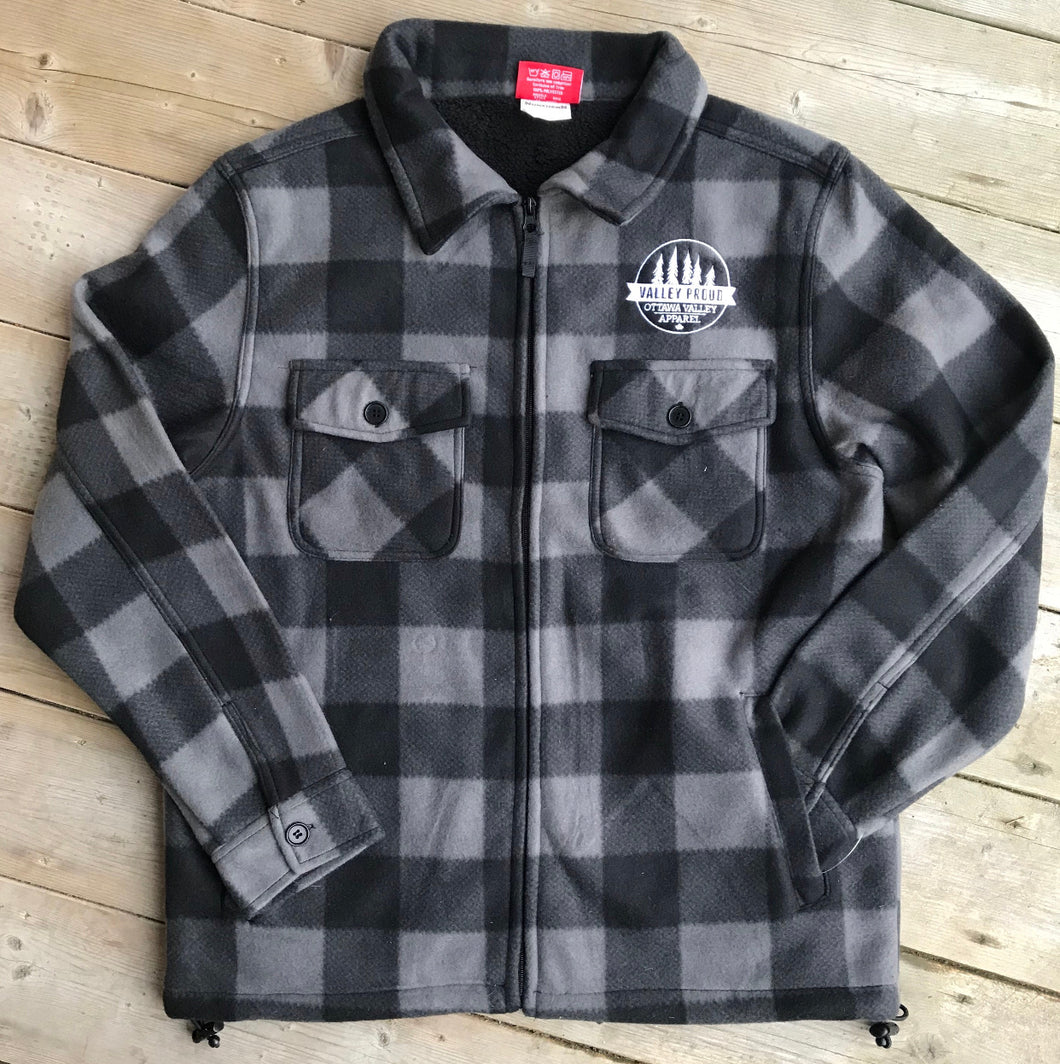 Sherpa Lined Lumberjacket - Grey & Black