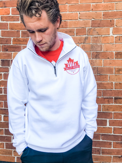 Canadian Valley Proud 1/4 Zip - White & Red