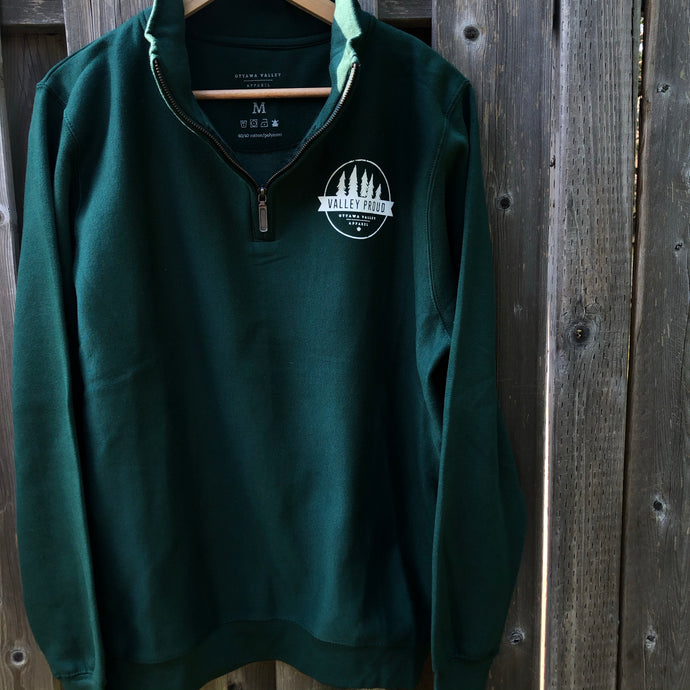 Classic Valley Proud 1/4 Zip - Forest Green & White
