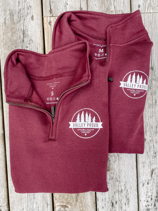 Classic Valley Proud 1/4 Zip - Burgundy & White