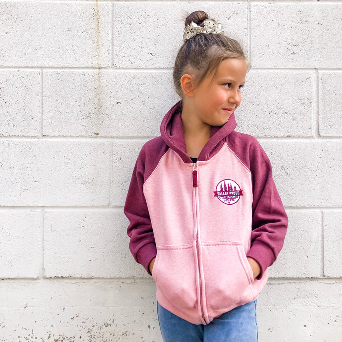 Valley Proud Toddler Zip Up - Pink & Burgundy