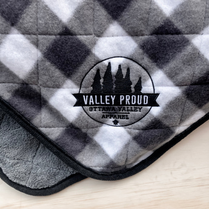 Buffalo Plaid Blanket - Grey & White