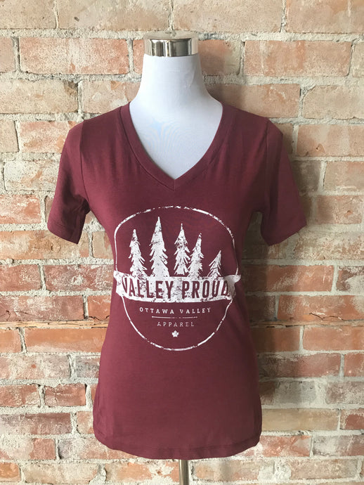 Classic Valley Proud Women's Vneck Tee - Burgundy