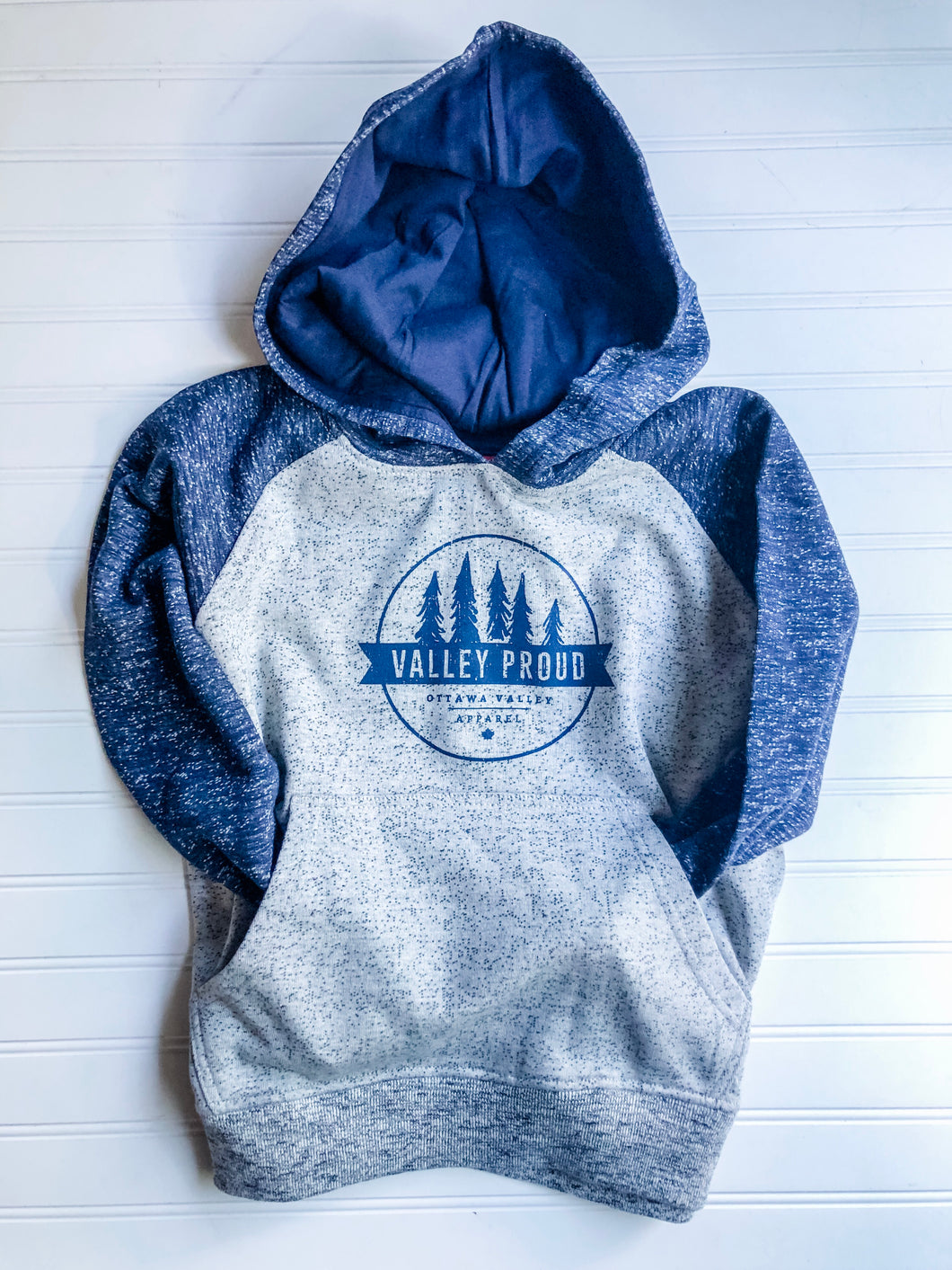 Valley Proud Youth Hoodie - Blue & Grey