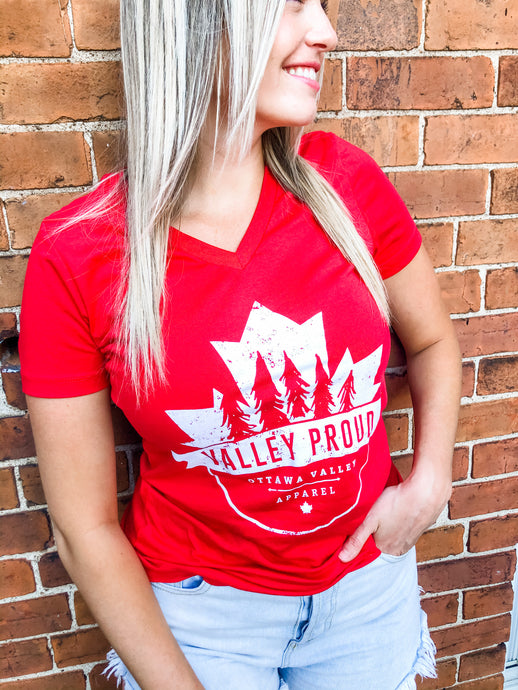 Canadian Valley Proud Women's Vneck Tee - Red