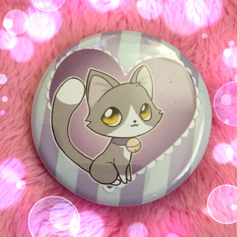 Grey and White Kitty Love Button