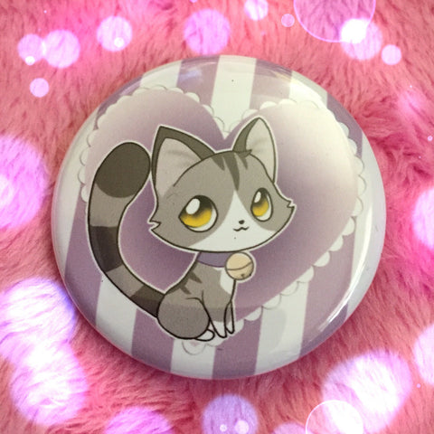 Grey and White Tabby Love Button