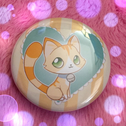 Orange Tabby Love Button