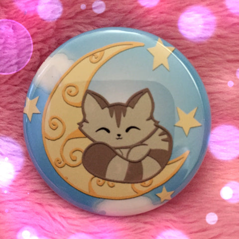 Sleepy Moon Kitty Button