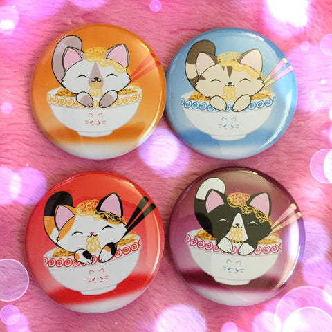 Ramen Bowl Kitty Buttons - Set of 4
