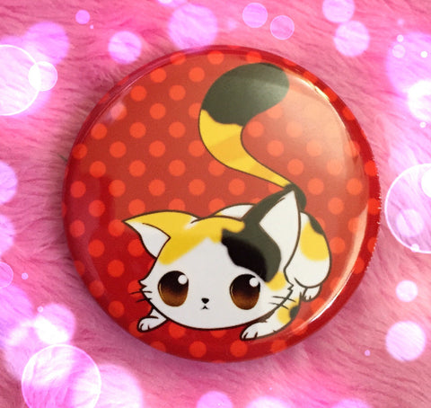 """Ready to Pounce"" Calico Button"