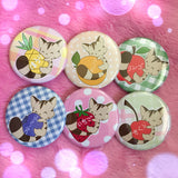 Fruit Kitty Buttons - Set of 6