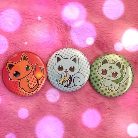 Pokemeow Buttons - Set of 3