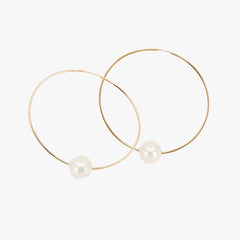 Gold hoops with white Pearl