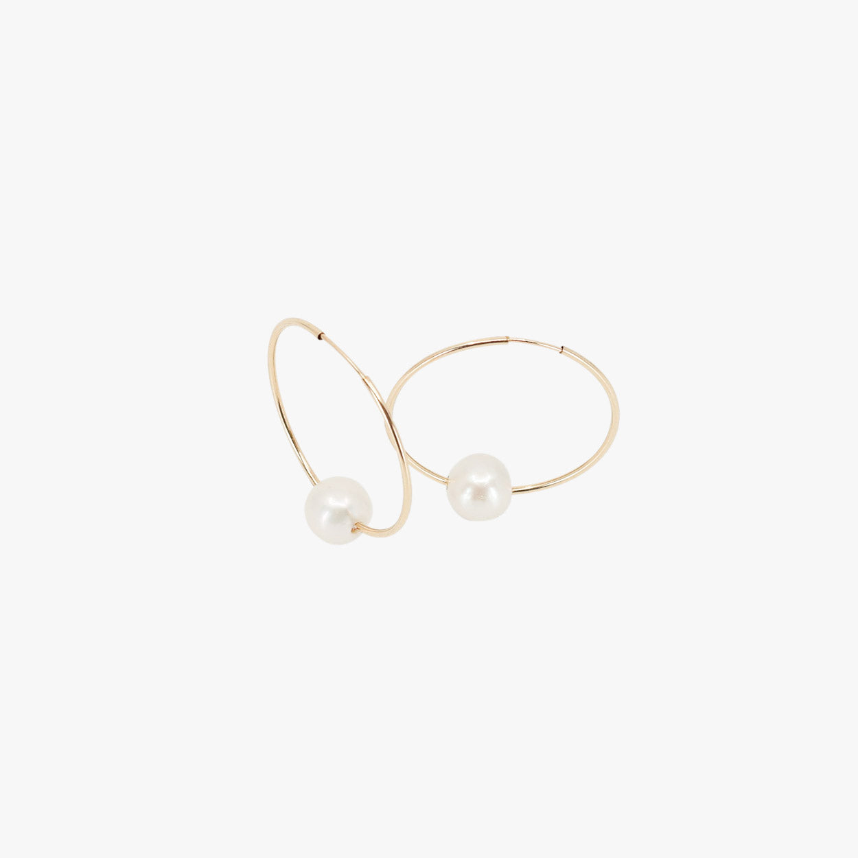 Small Gold hoops with white Pearl