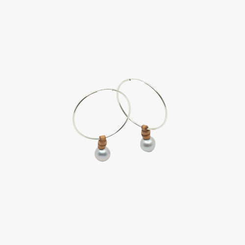 Small Sterling Silver Hoops + Freshwater pearls