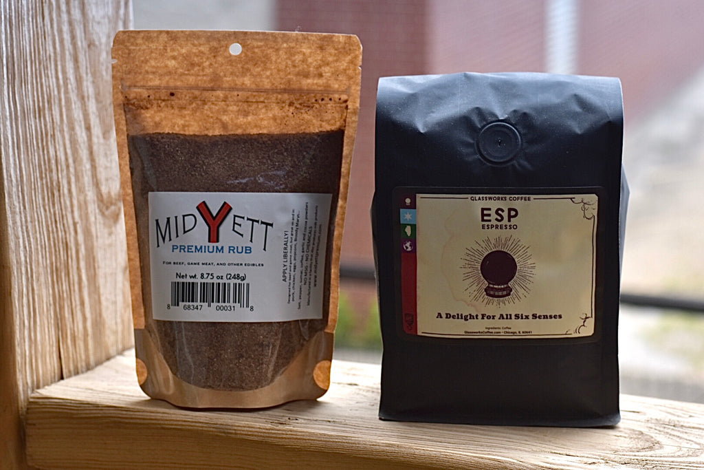 Midyett Premium Rub (8.75 oz bag) & Glassworks Coffee Bundle
