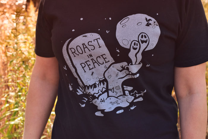 ROAST IN PEACE T-SHIRT & 16 OUNCE COFFEE BUNDLE
