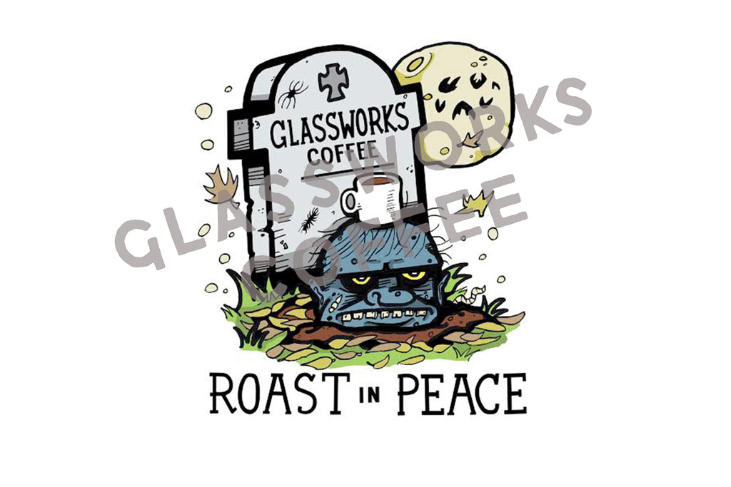 ROAST IN PEACE CERAMIC COFFEE MUG & 16 OUNCE COFFEE BUNDLE