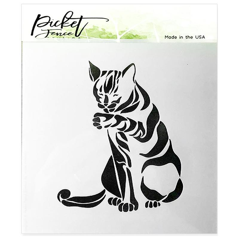 Picket Fence Stencil Cat