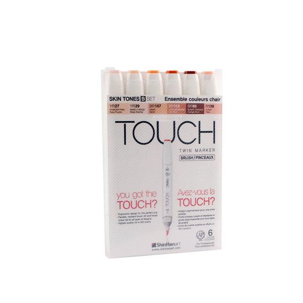 TOUCH Twin Brush Marker 6pc S Skin B
