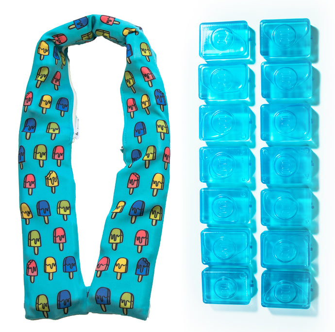 Popsicool neck cooler wrap for hot weather with ice cube refill
