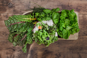fresh classic greens share variety in wooden box