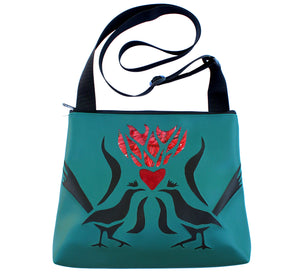 large handmade vegan leather purse hand cut applique design