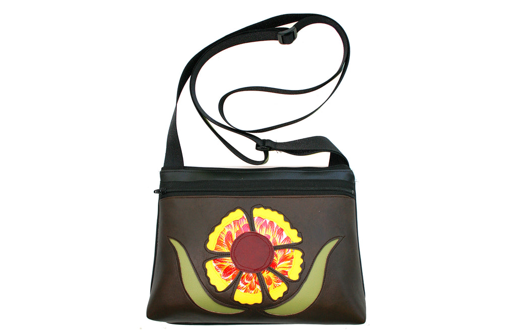Indian Blanket wildflower on dark brown crossbody purse