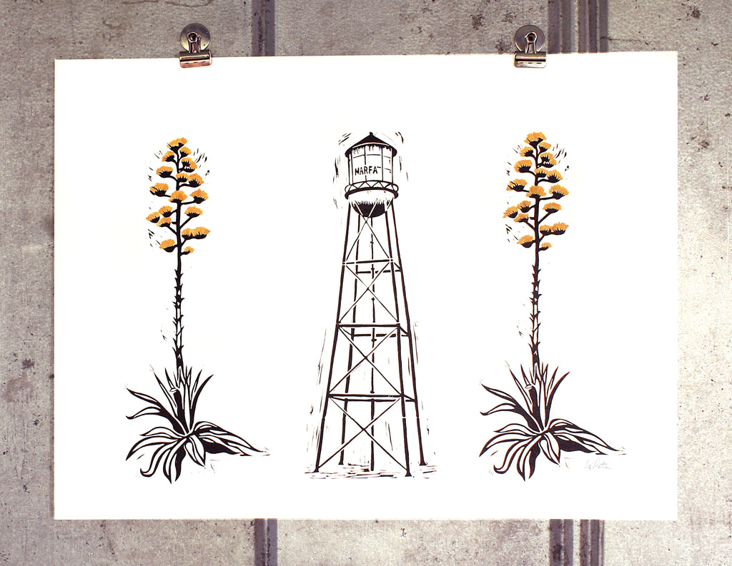 Marfa Water Tower + Century Plants (gold) on 18x24 paper