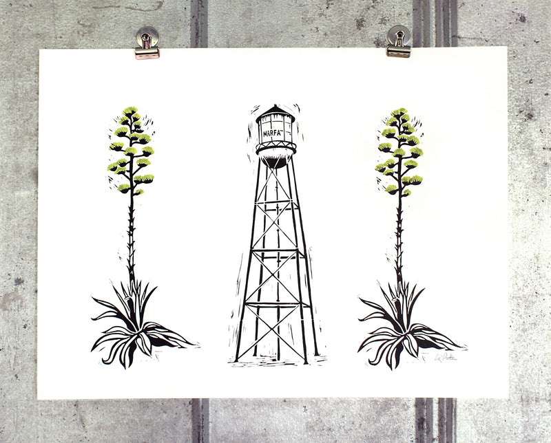 Marfa Water Tower + Century Plants (green) on 18x24 paper