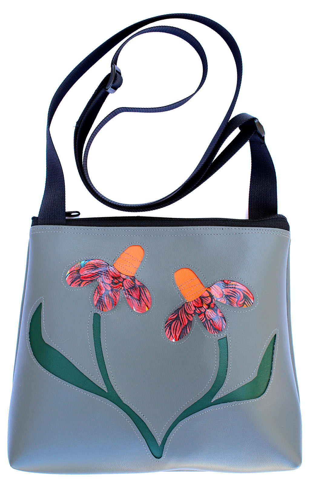 Wild Flowers on Grey mid-size crossbody