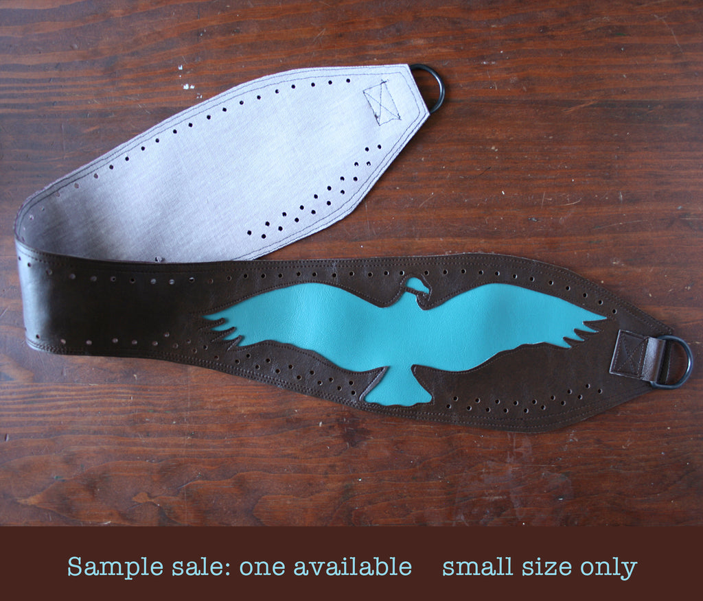 SAMPLE SALE! large vulture on brown vinyl belt