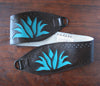Blue agave on brown vinyl belt