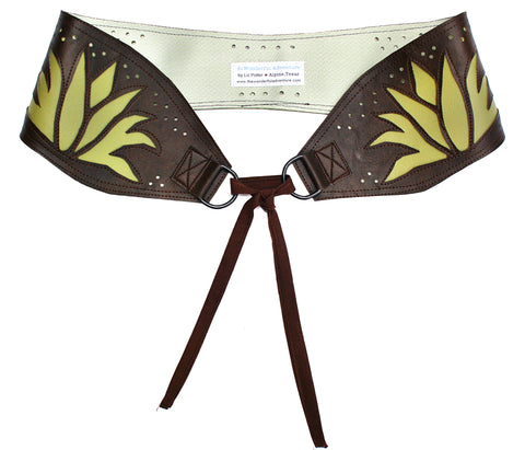 Flowers on brown vinyl belt