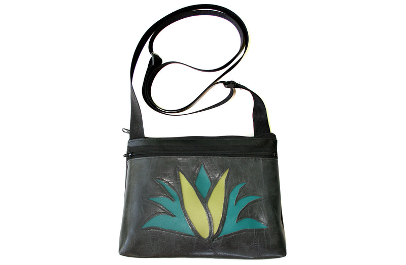 Agave on distressed gunmetal gray small crossbody