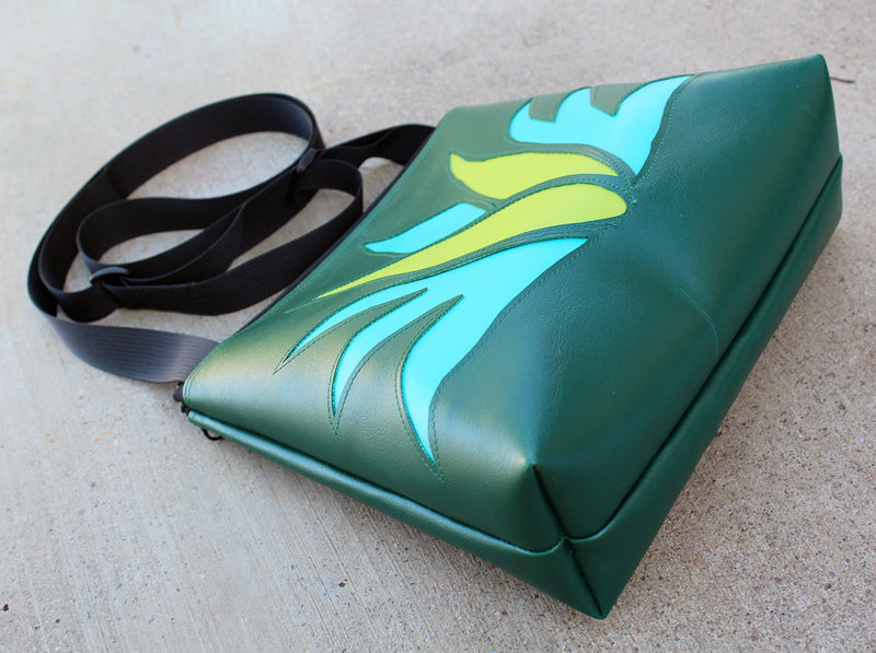 Agave on dark green mid-size crossbody