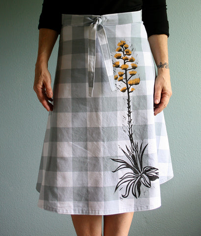 Hand block printed light grey linen wrap skirt with luchadors