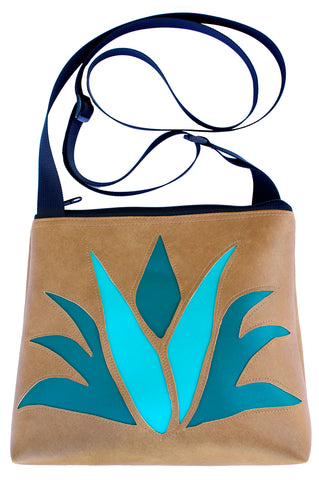 Prickly Pear on Turquoise mid-size crossbody
