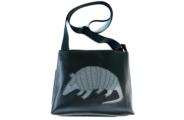 Armadillo on black vinyl large bag