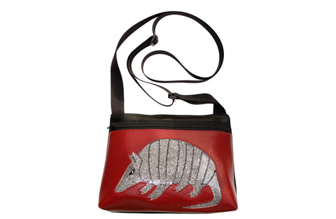 Silver rattlesnake on all dark red sm crossbody