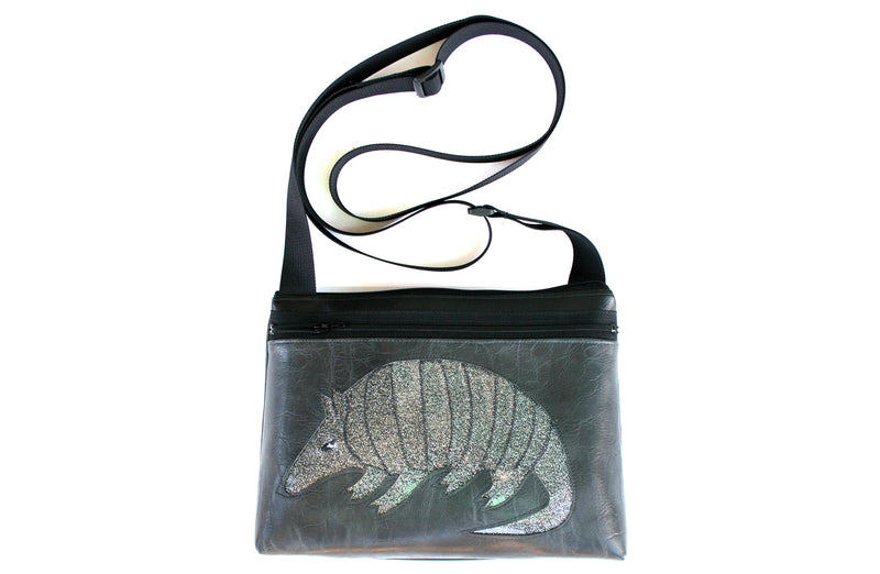 Silver glitter armadillo on distressed grey crossbody purse