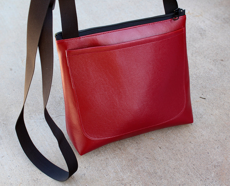 Red Flower on Burgundy mid-size crossbody