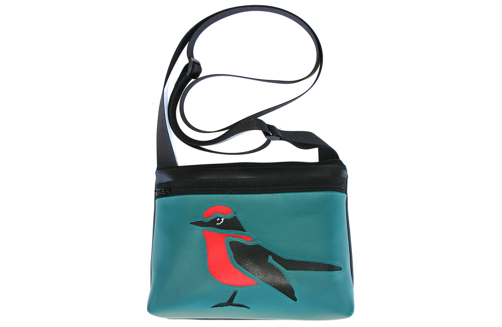 Bird on turquoise crossbody purse