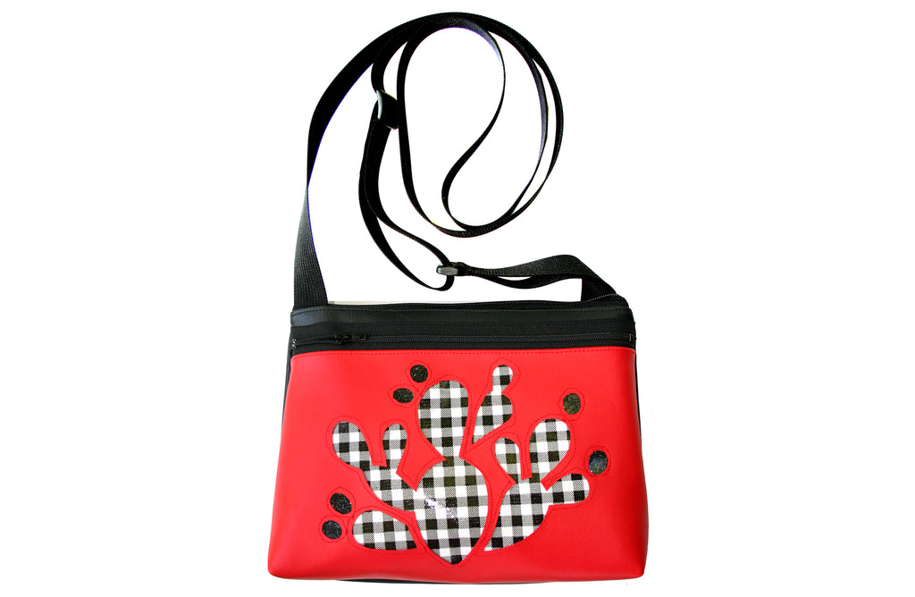 Checkered black and white Prickly Pear on red crossbody purse