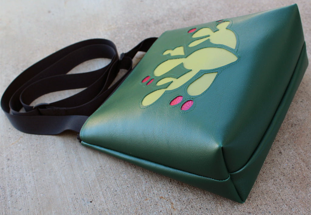 Prickly Pear on dark green mid-size crossbody